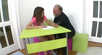 Tricky Old Teacher - Ulia is a sexy youthfull student who is having school trouble