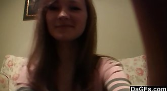 Young russian teen with a puny body teases on cam